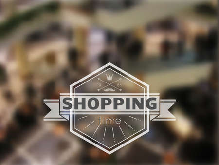 sopping: Hipster label with sopping time icon in the mall blurred background.