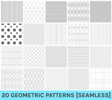 Monochrome geometric ornaments. Set of geometric vector seamless patterns.