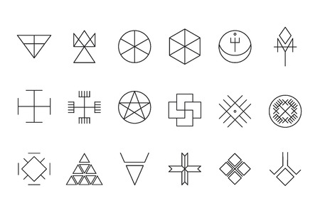 occultism: Set of geometric shapes. Trendy hipster background. Religion, philosophy, spirituality, occultism symbols collection
