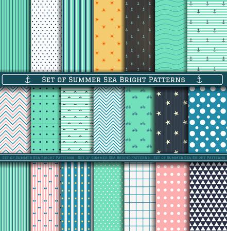 azul turqueza: Conjunto de azul, turquesa, blanco y rosa patrones mar verano. Elementos de diseño del libro de recuerdos. 21 modelos de verano diferentes se pueden utilizar para el papel pintado, patrones de relleno, página web, fondo, superficie