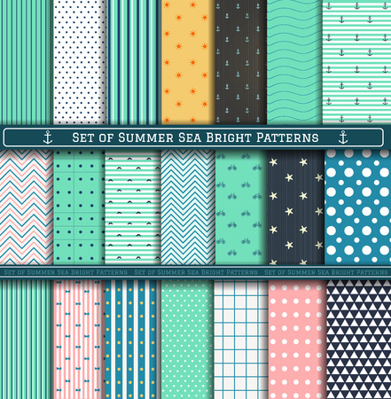 Set of blue, turquoise, white and pink summer sea patterns. Scrapbook design elements. 21 different summer patterns can be used for wallpaper, pattern fills, web page,background,surface