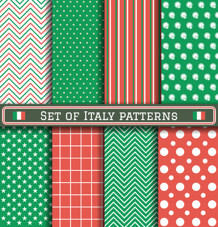 Set of Italy patterns. 8 different coloring italian patterns can be used for wallpaper, pattern fills, web page,background,surface