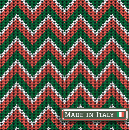 wool texture: Fair Pattern sweater italian design on the wool knitted texture. Seamless Knitting Ornament. Italy flag colors. Made in Italy Illustration