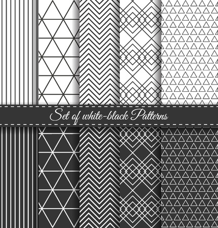 pop art herringbone pattern: Set of black-white abstract vector linear stripes geometric pattern. Wrapping paper. Paper for scrapbook. Vintage hipster striped. Stylish graphic texture for your design.