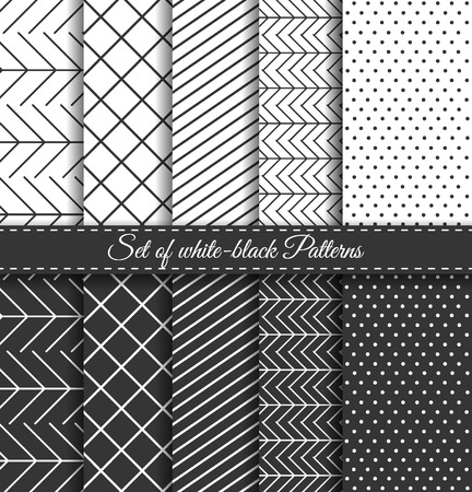 Set of black-white abstract vector linear stripes geometric pattern. Wrapping paper. Paper for scrapbook. Vintage hipster striped. Stylish graphic texture for your design.