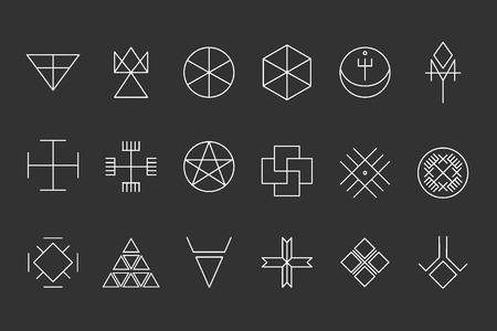 ocultismo: Conjunto de formas geom�tricas. Fondo inconformista de moda. La religi�n, la filosof�a, la espiritualidad, la colecci�n de s�mbolos ocultismo