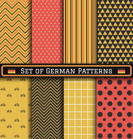Set of German patterns. 8 different coloring germany patterns can be used for wallpaper, pattern fills, web page,background,surface Illustration