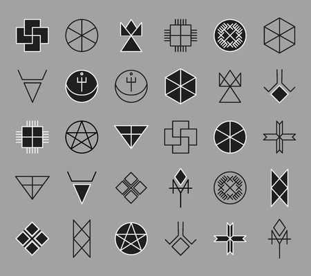 Set of black-white geometric shapes. Trendy hipster background. Religion, philosophy, spirituality, occultism symbols collection