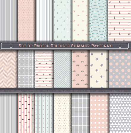 brittle: Set of delicate, tender, brittle summer sea patterns. Scrapbook design elements. 21 different summer patterns can be used for wallpaper, pattern fills, web page,background,surface Illustration