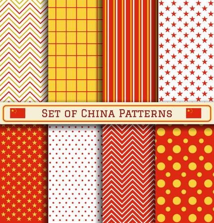 Set of China patterns. 8 different coloring Chinese patterns can be used for wallpaper, pattern fills, web page,background,surface