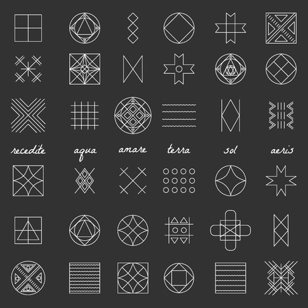 occultism: Set of geometric shapes. Trendy hipster background and . Religion, philosophy, spirituality, occultism symbols collection Illustration