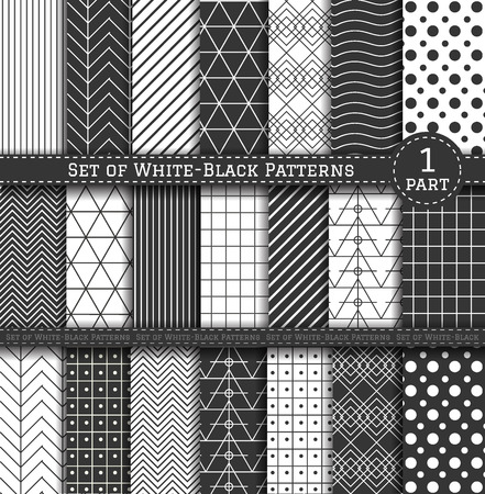 contrasty: Set of white and black patterns. Scrapbook design elements. 21 different contrasty patterns can be used for wallpaper, pattern fills, web page,background, surface. Part 1
