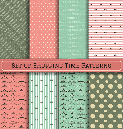 wallpaper design: Set of Pattern hanger shopping time backgrownd, backgrounds with text and a set of various hangers. Scrapbook design elements, can be used for wallpaper, pattern fills, web page,background,surface
