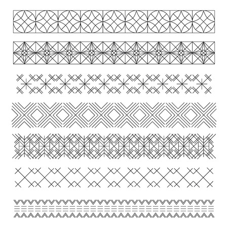 Set of linear thin line art deco retro hipster vintage design elements in geometric shape. Figured frame. linear thin delicate strips