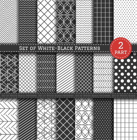 pop art herringbone pattern: Set of white and black patterns. Scrapbook design elements. 21 different contrasty patterns can be used for wallpaper, pattern fills, web page,background, surface. Part 2 Illustration