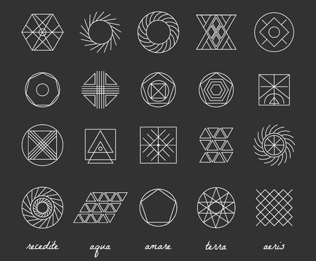 occultism: Set of geometric shapes. Trendy hipster background and logotypes. Religion, philosophy, spirituality, occultism symbols collection