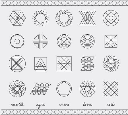 forme: Jeu de formes géométriques. Trendy fond hippie et logotypes. Religion, la philosophie, la spiritualité, la collecte des symboles de l'occultisme Illustration