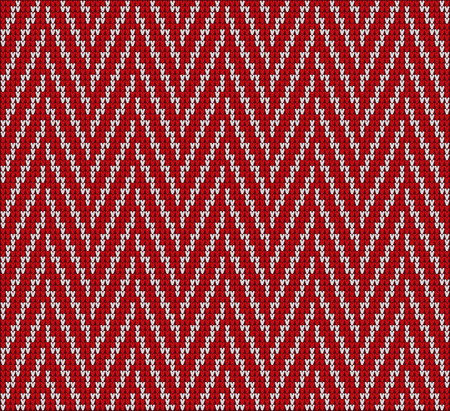 Fair Pattern sweater design on the wool knitted texture. Knitting Red Ornament