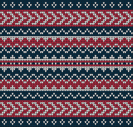 wool texture: Fair Pattern sweater design on the wool knitted texture. Red-blue Knitting Ornament Illustration