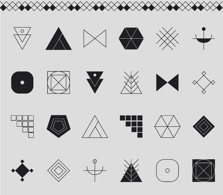 freemasonry: Set of geometric shapes. Trendy hipster background and . Religion, philosophy, spirituality, occultism symbols collection Illustration