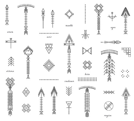 occultism: Set of geometric shapesand arrows. Trendy hipster icons and logotypes. Religion, philosophy, spirituality, occultism symbols collection. isolated Illustration