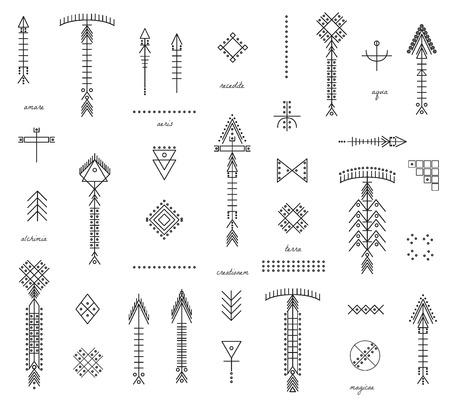 Set di frecce shapesand geometriche. Trendy icone a vita bassa e loghi. La religione, la filosofia, la spiritualità, la raccolta simboli occultismo. isolato