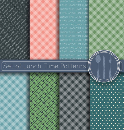 lunch table: Set of Pattern lunch time background, backgrounds with text and a set of tablecloth background. Scrapbook design elements, can be used for wallpaper, pattern fills, web page,background,surface