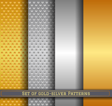 gold textures: Set of Aluminum and brass stitched textures, gold silver background, vector illustration.