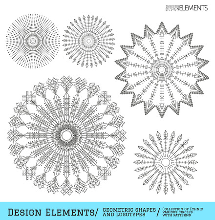 logotypes: Set of geometric shapes. Trendy hipster circles and logotypes. Religion, philosophy, spirituality, occultism symbols collection. Aztec sign