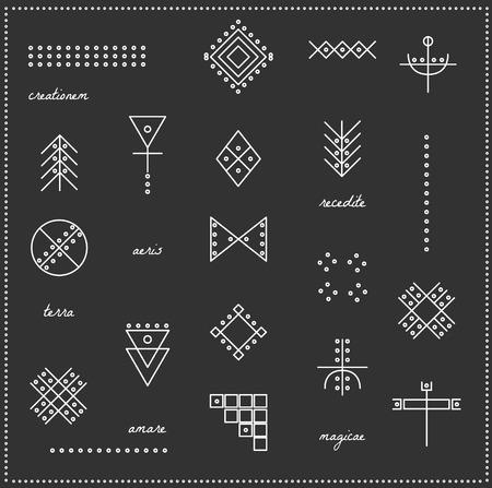 ocultismo: Conjunto de formas geom�tricas. De moda iconos inconformista y logotipos. La religi�n, la filosof�a, la espiritualidad, la colecci�n de s�mbolos ocultismo. aislado