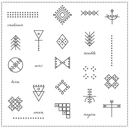 occultism: Set of geometric shapes. Trendy hipster icons and logotypes. Religion, philosophy, spirituality, occultism symbols collection. isolated
