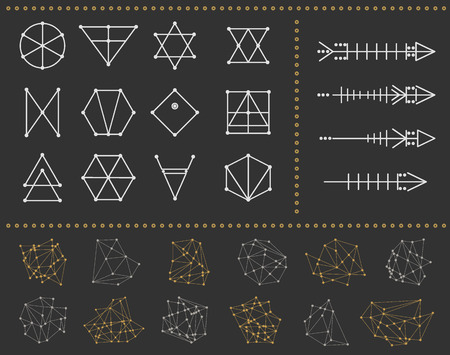 occultism: Set of geometric shapesand arrows. Trendy hipster icons and . Religion, philosophy, spirituality, occultism symbols collection. isolated