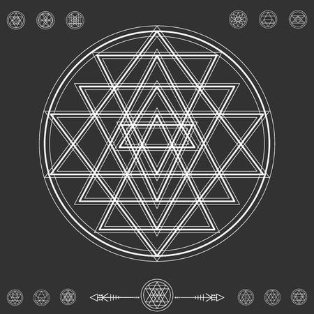 ocultismo: Conjunto de formas geom�tricas. Fondo inconformista de moda y logotipos. La religi�n, la filosof�a, la espiritualidad, la colecci�n de s�mbolos ocultismo Vectores