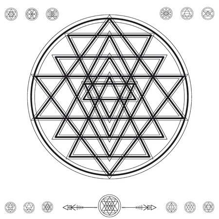 religion: Set of geometric shapes. Trendy hipster background and logotypes. Religion, philosophy, spirituality, occultism symbols collection