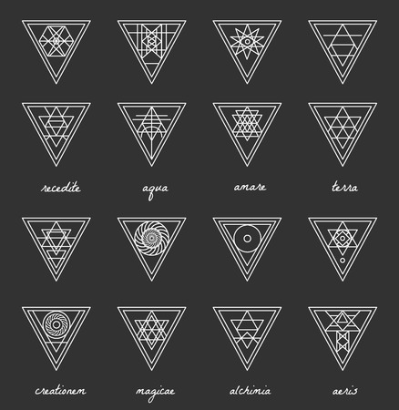 shape triangle: Set of geometric shapes. Trendy hipster background and logotypes. Religion, philosophy, spirituality, occultism symbols collection
