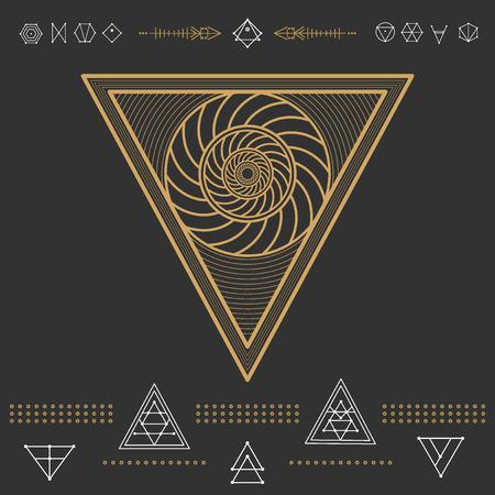 ocultismo: Conjunto de formas geom�tricas. Inconformista moda iconos de oro y logotipos. La religi�n, la filosof�a, la espiritualidad, la colecci�n de s�mbolos ocultismo