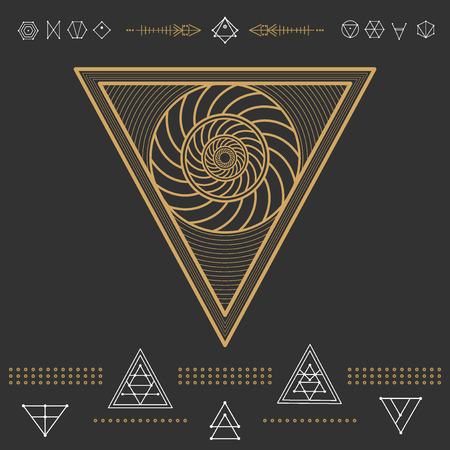 occultism: Set of geometric shapes. Trendy hipster gold icons and logotypes. Religion, philosophy, spirituality, occultism symbols collection Illustration