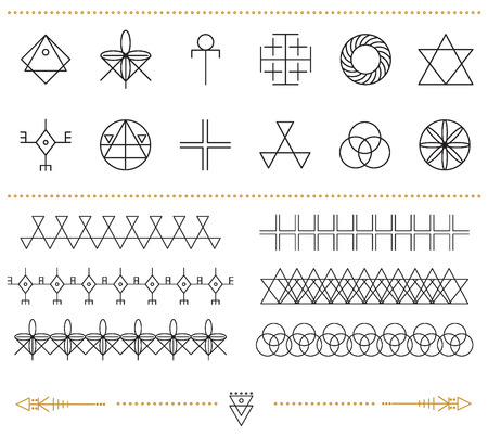 occultism: Set of geometric shapes. Trendy hipster frames and logotypes. Religion, philosophy, spirituality, occultism symbols collection