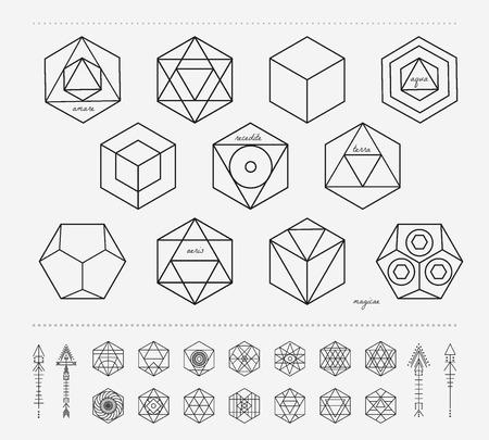 ocultismo: Conjunto de formas geom�tricas. De moda iconos inconformista y logotipos. La religi�n, la filosof�a, la espiritualidad, la colecci�n de s�mbolos ocultismo