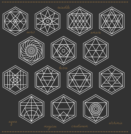 occultism: Set of geometric shapes. Trendy hipster icons. Religion, philosophy, spirituality, occultism symbols collection