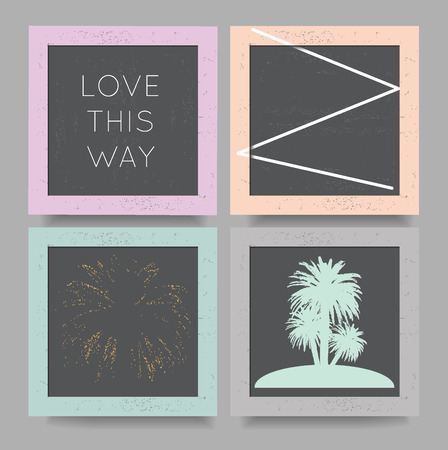 maldives island: Set of vector trendy cards with geometric icons, with palm trees, slogan love this way, print for t-shirt and other uses.