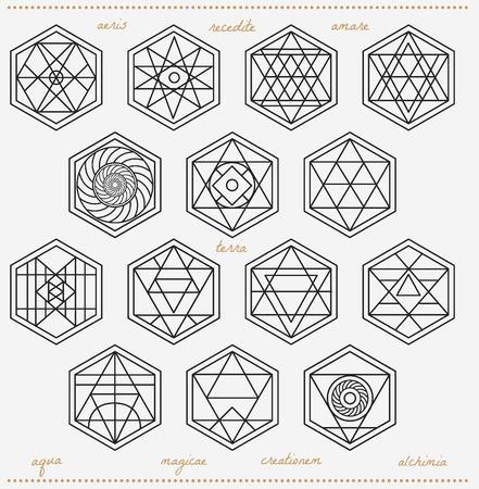 forme: Jeu de formes géométriques. Trendy icônes hipster et logotypes. Religion, la philosophie, la spiritualité, la collecte des symboles de l'occultisme