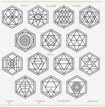 illuminati: Set of geometric shapes. Trendy hipster icons and logotypes. Religion, philosophy, spirituality, occultism symbols collection Illustration
