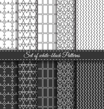 pop art herringbone pattern: Set of black-white abstract  linear stripes geometric pattern. Wrapping paper. Paper for scrapbook. Vintage hipster striped. Stylish graphic texture for your design.