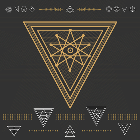 occultism: Set of geometric shapes. Trendy hipster gold icons  . Religion, philosophy, spirituality, occultism symbols collection