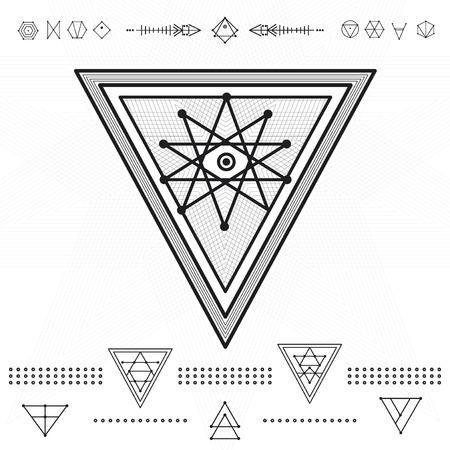 ocultismo: Conjunto de formas geom�tricas. Iconos de oro inconformista de moda. La religi�n, la filosof�a, la espiritualidad, la colecci�n de s�mbolos ocultismo