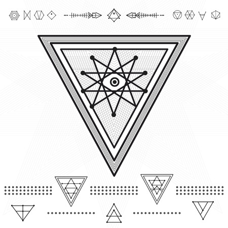 occultism: Set of geometric shapes. Trendy hipster gold icons. Religion, philosophy, spirituality, occultism symbols collection