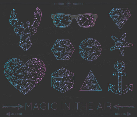 other space: Polygonal icons, hipster cosmic   of heart, deer, star glasses and other space shapes and magic card Illustration