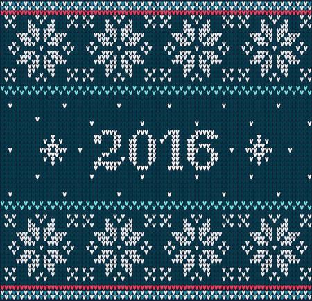 stockinet: Christmas jumper fragment with 2016 New Year. Card of New Year 2016 with knitted texture. vector illustration for winter holiday, new years eve, silvester Illustration