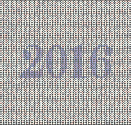 silvester: Christmas jumper fragment with 2016 New Year. Card of New Year 2016 with knitted texture. vector illustration for winter holiday, new years eve, silvester Illustration